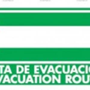 SEÑAL MODELO 028 RUTA DE EVACUACIÓN IZQUIERDA ESPAÑOL/INGLES
