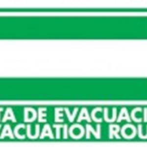 SEÑAL MODELO 029 RUTA DE EVACUACIÓN  DERECHA ESPAÑOL/INGLES